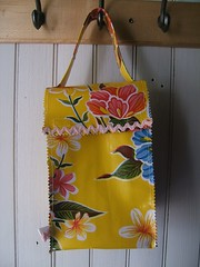 Yellow Hawaiian Oilcloth Lunch Bag