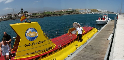 Tourist attraction - a real yellow submarine - in San Miguel, Tenefire, Canary Islands