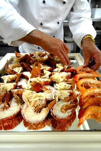 Seafood served on mirror