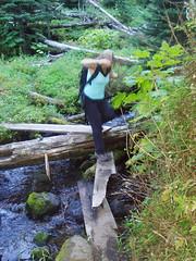 susie crossing the makeshift bridge.