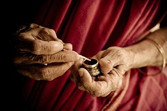 Red (knowsnotmuch) Tags: old family grandma red 3 hands matchstick pp wrinkled kumkum explored 55200vr