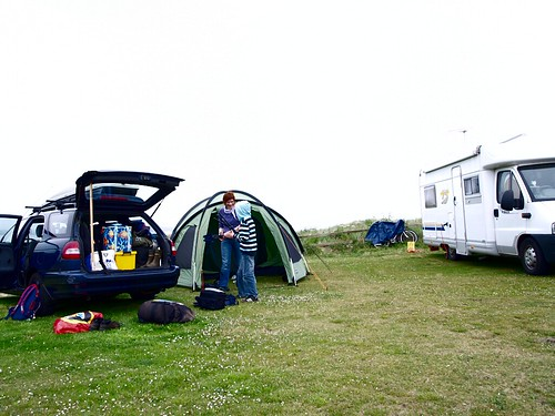 Tenting on a caravan site at Dunnet Bay.