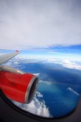 Flying over the Straits of Malacca (A Sutanto) Tags: blue red sea sky window clouds fly flying inflight asia view seat air jet engine ak overcast aerial airbus airliner exhaust a320 intake airasia