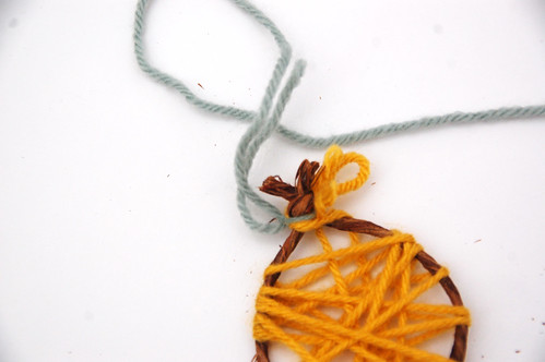 making a little yarn ornament