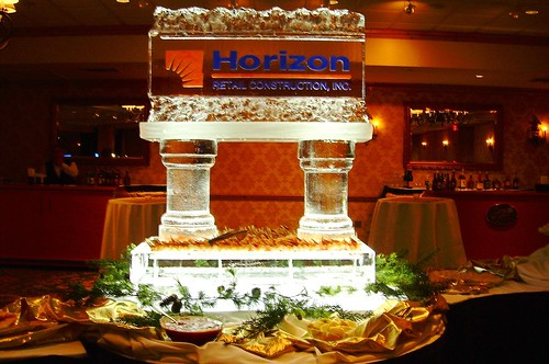 Horizon's Shrimp table ice sculpture