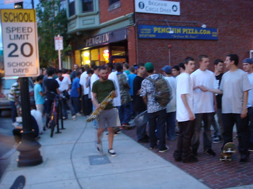 crowd outside the Transworld video premiere