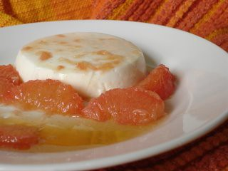 Cardamom yogurt pudding with grapefruit and cardamom honey syrup