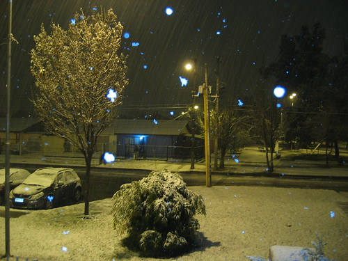Snowy scene of nighttime street
