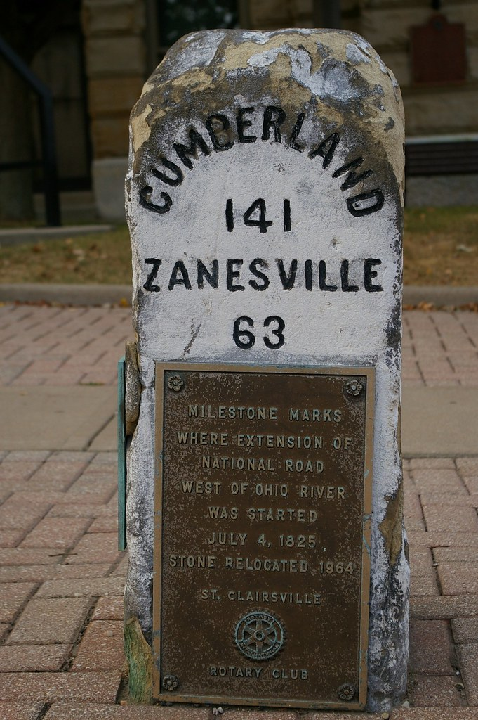 141 miles to Cumberland - a milestone on the National Road in Ohio