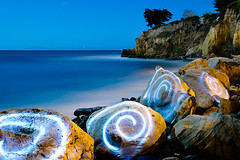 Spiral Boulders, Leadbetter Beach (Toby Keller / Burnblue) Tags: longexposure lightpainting beach santabarbara night landscape led flashlight d300 leadbetter 1750mm