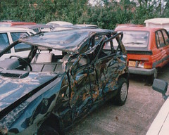 Crashed Fiat Uno in 1990