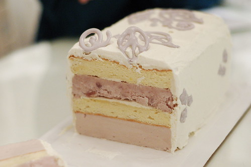 Taro Ice Cream Cake Cross Section