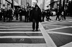 Crosswalk No. 68 - Fortune Favors the Bold (mgarbowski) Tags: blackandwhite streetphotography crosswalk ilfordhp5plus streetcandids minoltacle leitz40mmsummicronc