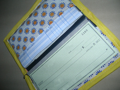 Inside of Red & Yellow Checkbook Cover