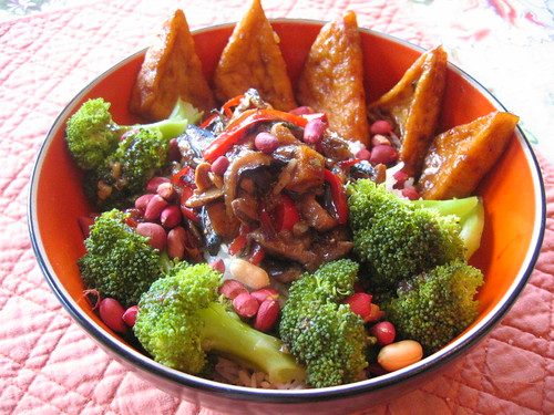 ... vegan eat anyway?: Kung Pao Tofu with Steamed Broccoli, Jasmine Rice