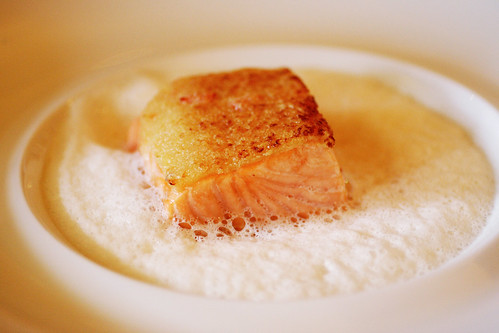 Salmon with tomato foam