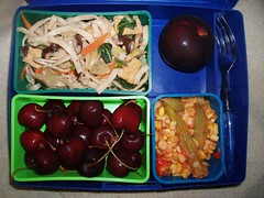 July27lunch (melissa_c) Tags: cherries plum lunchbox okra lomein laptoplunchbox