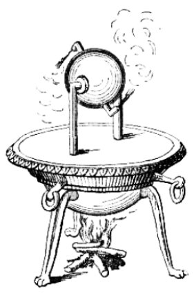illustration of an aeolipile, invented by Hero of Alexandria