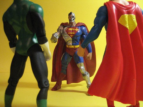 Cyborg Superman vs. Superman and Green Lantern