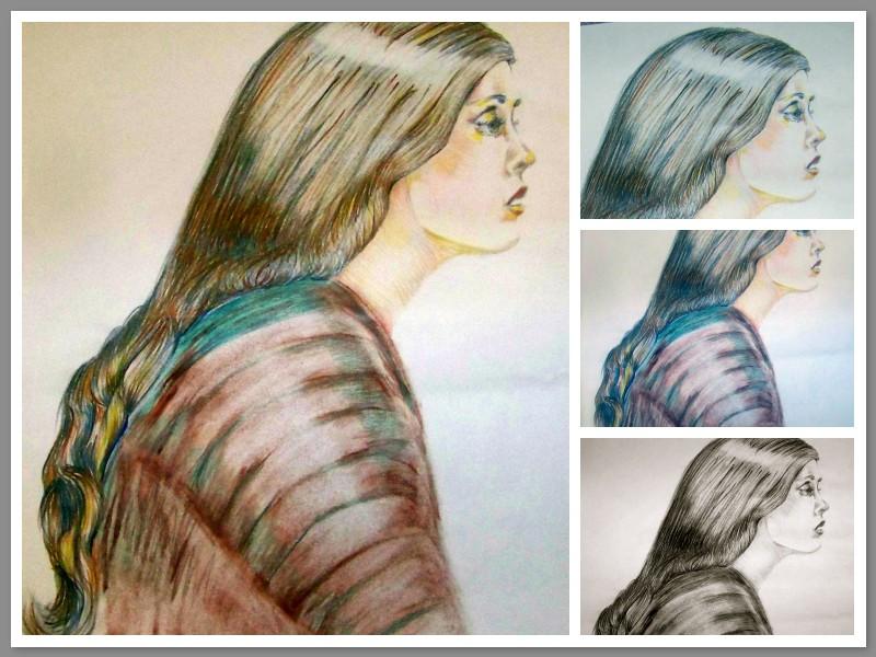 Stages of a pencil portrait