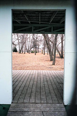 Enter the Forest (dmacfoto) Tags: contrast grey eyes gray entrance manitoba doorway portagelaprairie