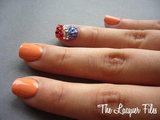 World Cup Nail Art Design Rhinestones