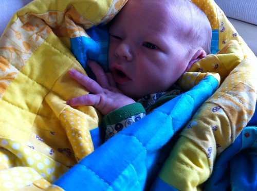 Baby Everett wrapped up in his Bright Furrows quilt