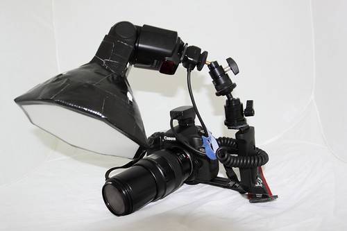 macro diffuser for speedlite or speedlight on flash bracket