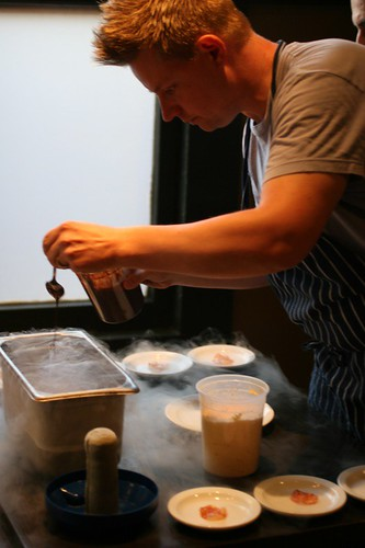 making the choco for the chorizo in liquid nitrogen