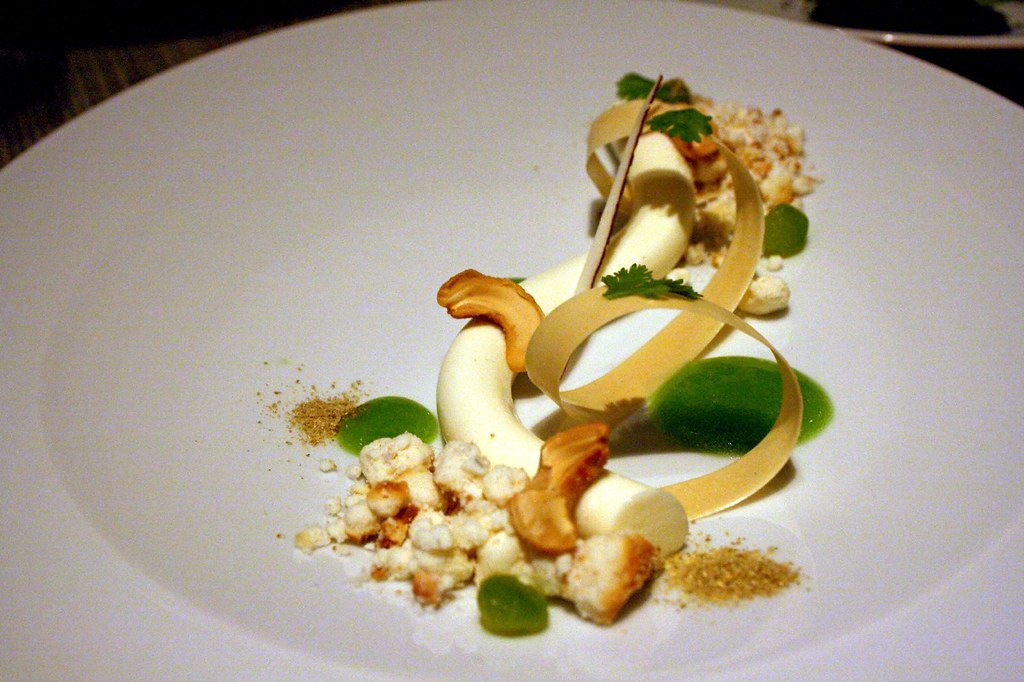 Another view of Coconut mousse, cashew, cucumber, coriander
