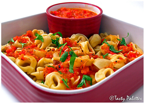 Roasted Red Pepper Sauce over Tortellini