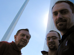Dad, Bartek, and Jerry at the St. Louis Gateway Arch