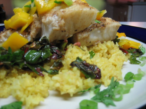 halibut, gf couscous and mango salsa