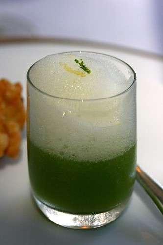 Shot of Cucumber Soup and Yuzu Foam