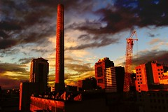 lsps070928a (animals and cranes) (mugley) Tags: city sunset chimney urban abandoned architecture clouds buildings condemned nikon industrial d70 crane australia melbourne demolition victoria lonsdalestpowerstation 1855mmf3556gii