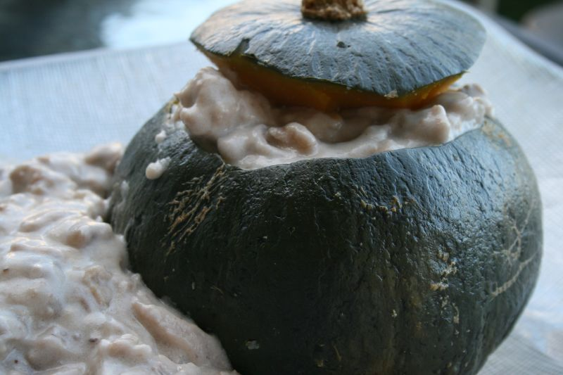 Stuffed kabocha close up