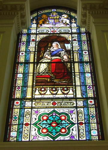 Stained glass window featuring Queen Victoria, JSchool visit to Parliament of Queensland, Brisbane, Queensland, Australia, 100511