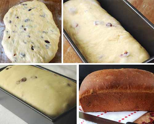 Golden Egg Bread with Dried Fruit -- how to form bread for loaf pan