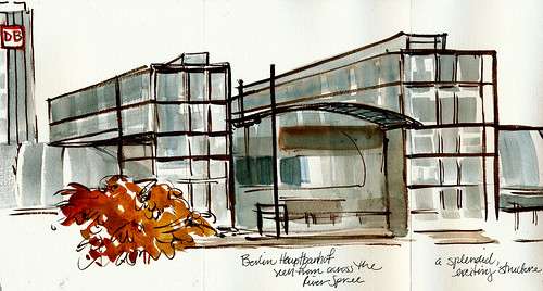 Berlin: Hauptbanhof left side of sketch