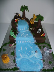 Jungle Cake (kirstyannb (Cake Corner)) Tags: elephant tree bird cake monkey waterfall toucan turtle lion jungle zebra crocodile giraffe junglecake
