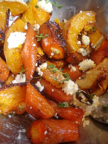 Roasted Carrot , butternut squash, thyme and feta salad