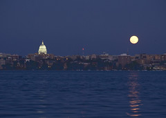 July Moon (dcmarch) Tags: moon reflection wisconsin evening madison lakemendota eos5d ef70300mmf456isusm