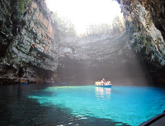 Melissani Lake - Kefalonia Island (Viton) Tags: blue light sun sunlight lake water boat turquoise greece kefalonia lightblue melissani supershot creativephoto loveandlife diamondclassphotographer flickrdiamond photosandcalendar