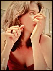 (K. Sawyer Photography) Tags: portrait woman hands glow cigarette jewelry smoking ring reddress