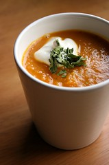 Carrot Soup (Elina Innanen) Tags: autumn food orange white green yellow lunch soup vegan herbs vegetarian carrot soy lovage interestingness48 i500 levisticum