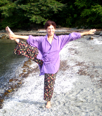 Barbara does Yoga by the Lake