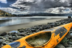 Wooden Kayak Stormy Landscape (chris17nz) Tags: trees newzealand seascape photoshop landscape scary scenery kayak nz otago dunedin hdr breathtaking tonemap 25faves mywinners dphdr
