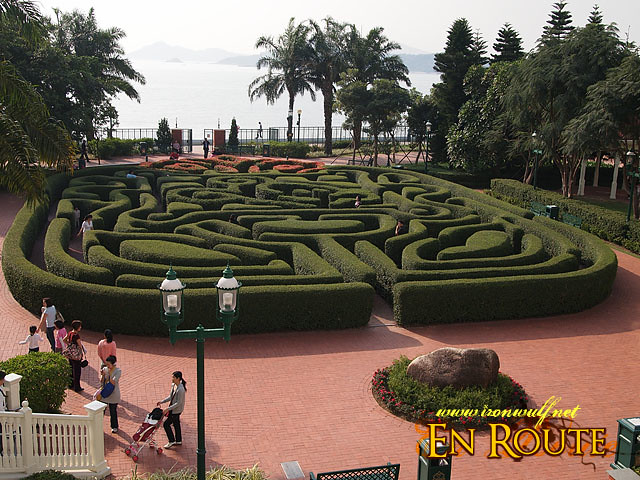 The Hotel mini maze facing the bay