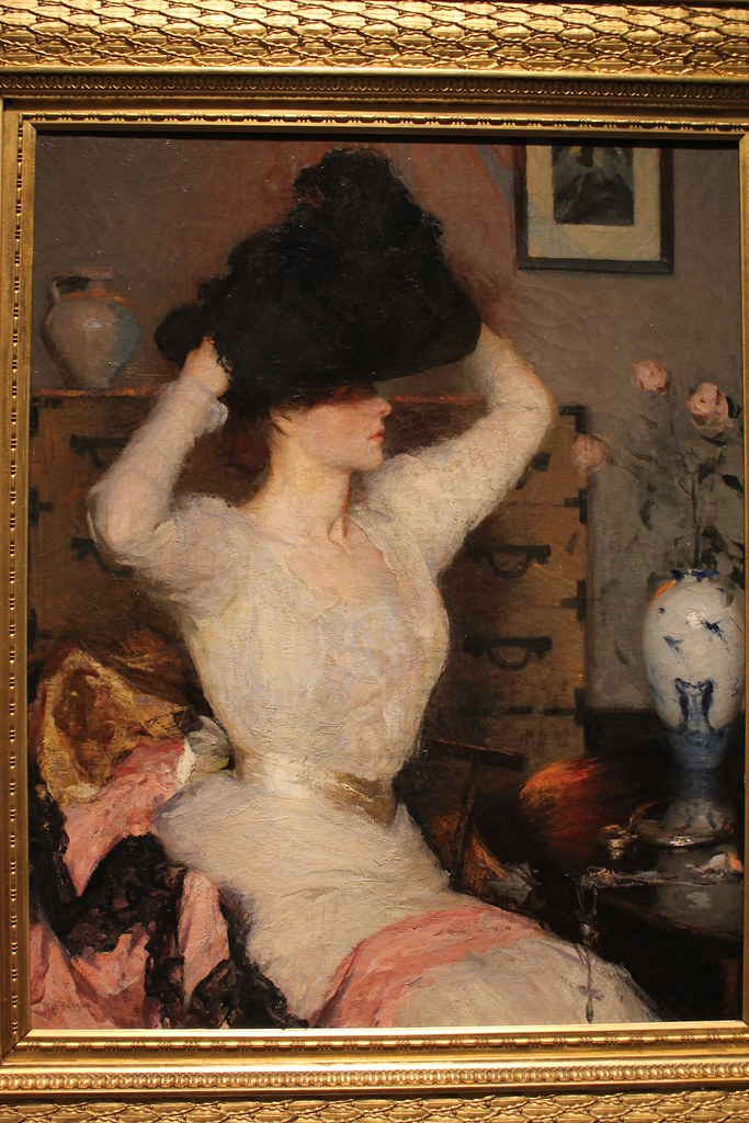 Lady Trying on a Hat (The Black Hat); Benson (1904)