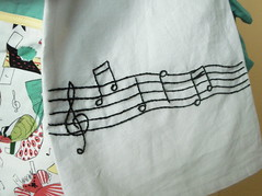 embroidered tea towel by Stacey